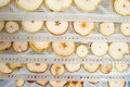 Detailed photo home made dehydrated apples pears Royalty Free Stock Photography