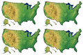 Detailed physical maps of united states showing great lakes and major bays maps show us with progressively more features Stock Photography