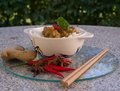 Detailed Picture of the asian style dish, thai or cambodian, curry with vegetables and rice Royalty Free Stock Photo