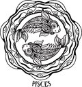 Detailed pisces in aztec style Royalty Free Stock Photo