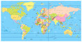 Detailed political World Map: countries, cities, water objects Royalty Free Stock Photo