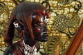 African Warrior (wood carving) Royalty Free Stock Photo