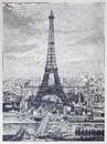 Detailed reprography of a vintage engraved illustration from Eiffel Tower Royalty Free Stock Photo