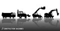 Detailed silhouettes of construction machines: truck, excavator, bulldozer, elevator with reflections background Royalty Free Stock Photo