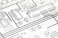 Detailed technical drawing with a lot of calculations Stock Images