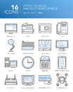 Detailed thin line icons. Office technics and electronic devices.