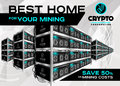 Detailed Vector Illustration of Bitcoin Mining Farm in Perspective. Racks of Mining Machines at Server Farm. Royalty Free Stock Photo