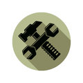 Detailed vector illustration of hammer and wrench crossed, work Royalty Free Stock Photo