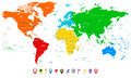 Detailed vector World map with colorful continents and flat map Royalty Free Stock Photo