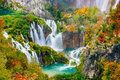 Detailed view of the beautiful waterfalls in the sunshine in Plitvice National Park,Croatia Royalty Free Stock Photo