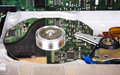 Detailed view of hard disk drive inside. Royalty Free Stock Photo
