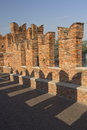 Detailed view of old brick bridge in Verona Stock Photography