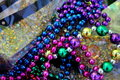Detailed view of shiny, colorful beads and sequins
