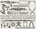 Detailed vintage elements in gothic style on beige vintage textured background. Vector illustration Royalty Free Stock Photo
