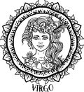 Detailed Virgo in aztec style Royalty Free Stock Photo