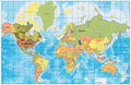Detailed World Map with all Names of Countries Stock Photography