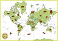 Detailed World Map with Animals