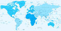 Detailed World map blue colors isolated on white Royalty Free Stock Photo