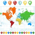 Detailed  World map with colorful continents and map point Royalty Free Stock Photo