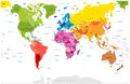 Detailed World Map spot colored illustration