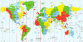 Detailed World map standard time zones