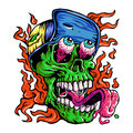 Detailed Zombie wearing hat Head Illustration