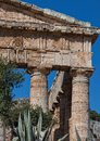 Details of ancient columns of Segesta ruins in Sicily Royalty Free Stock Photo