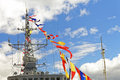 Details deck of the ship. The mast of the ship and signal flags. Royalty Free Stock Photo