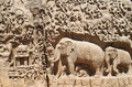 Details of descent of the ganges in mahabalipuram india huge monument portrayed stone n mammalapuram tamilnadu Royalty Free Stock Images