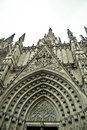 Details of facade of main cathedral of barcelona in old town Stock Photography