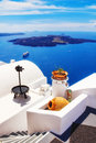 Details of fira architecture with a view the caldera in the background Royalty Free Stock Photography