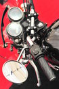 Motorcycle controls - close up details Royalty Free Stock Photo