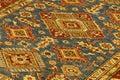 Details of intricate blue patterns in turkish carpets rug store ingoreme cappadocia turkey Royalty Free Stock Image