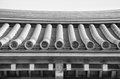 Details of Japanese temple roof architecture (black and white) Royalty Free Stock Photo