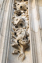 Details of medieval exterior decor of st michael and st gudula cathedral in brussels belgium Royalty Free Stock Images