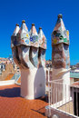 Details of mosaic turrets on gaudi casa batllo roof dragon antonio house tile in barcelona Stock Photo