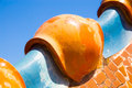 Details of mosaic turrets on gaudi casa batllo roof dragon antonio house tile in barcelona Stock Images