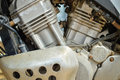 Details of motocycle engine closeup on mechanic Stock Photo