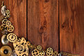 Details of the movement on wooden table Royalty Free Stock Photography