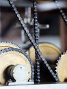 Details od old watch mechanism tower Stock Photo