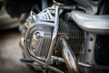 Details parts of a large motorcycle glisten in the sun Stock Photo