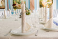 Details of place setting on as wedding table Royalty Free Stock Photo