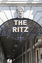 Details of the Ritz hotel entrance. Stock Image