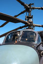 Details of the rotor and part of the body of modern military helicopters closeup. Royalty Free Stock Photo