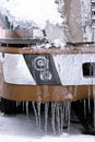 Details of semi truck with snow and icicles Royalty Free Stock Photo