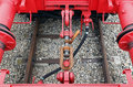 Details of train couplings Stock Photo