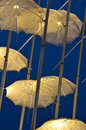 Details of umbrellas by giorgos zogolopoulos at night thessaloniki in macedonia greece Royalty Free Stock Photos