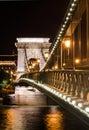Detalj för natt Szechenyi för Chain bro, Budapest Royaltyfri Bild