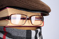 Detective burlesque image of the books eyeglasses a scarf Royalty Free Stock Photo