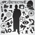 Detective icon set. Royalty Free Stock Photo